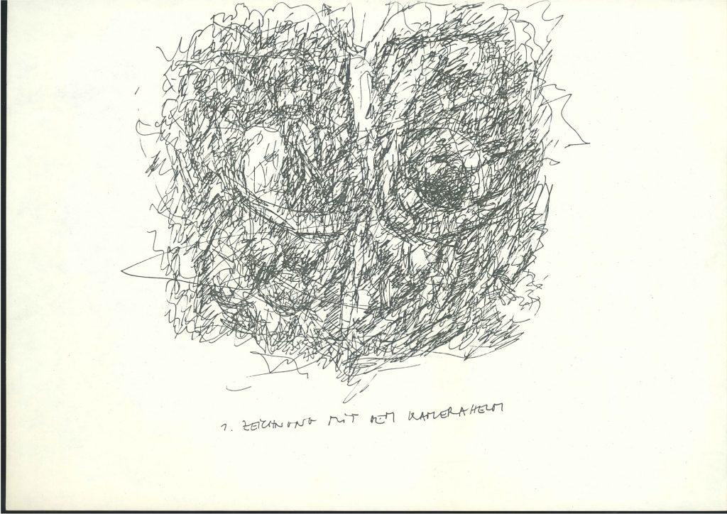 Zeichnung mit dem Kamerahelm